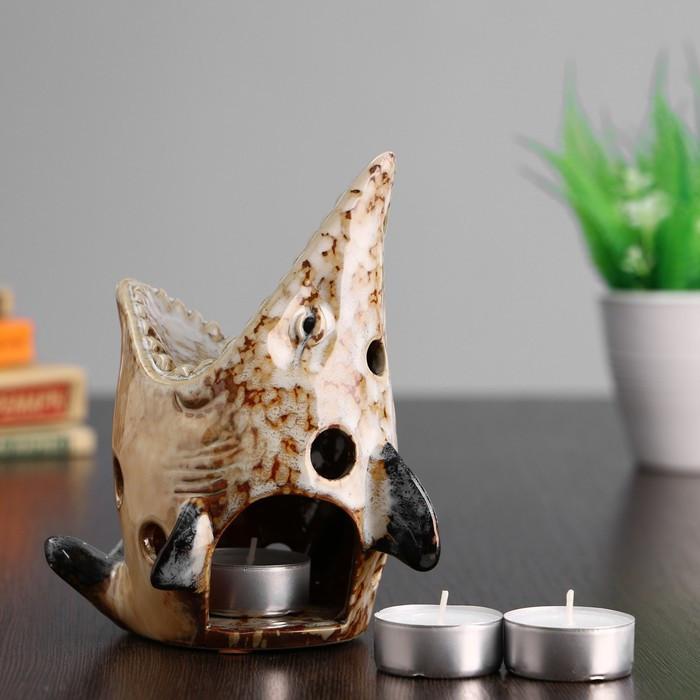 """Набор подарочный 1+3, подсвечник керамический """"Осетр"""" 12*12*16 см, 3 чайные свечи"""