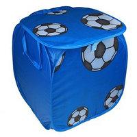 Корзина для игрушек 'Футбол' с ручками и крышкой, цвет синий