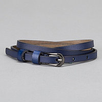 Ремень женский, гладкий, пряжка чёрный металл, ширина - 1 см, цвет синий