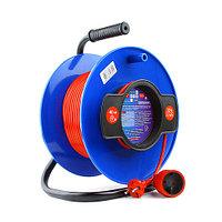 Силовой удлинитель на катушке Power Cube PC-B1-K-30, 10 А/2,2 кВт, 30 м, 1 розетка б/з, красно-синий