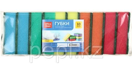 Губка для мытья посуды OfficeClean, 90×65×27 мм, 10 шт., Maxi