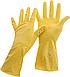 Перчатки латексные с хлопковым напылением Office Clean, размер L, желтые, фото 2