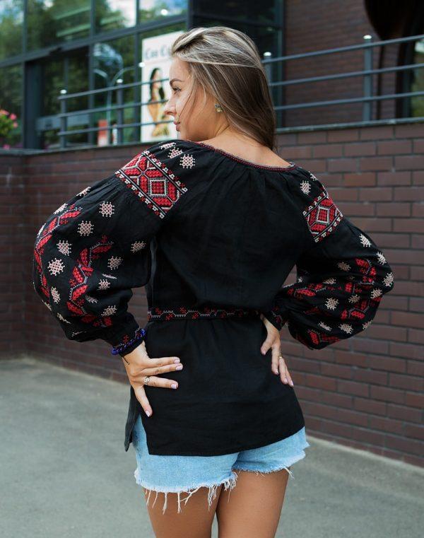 Вышиванка женская Гроно черный штапель - фото 5