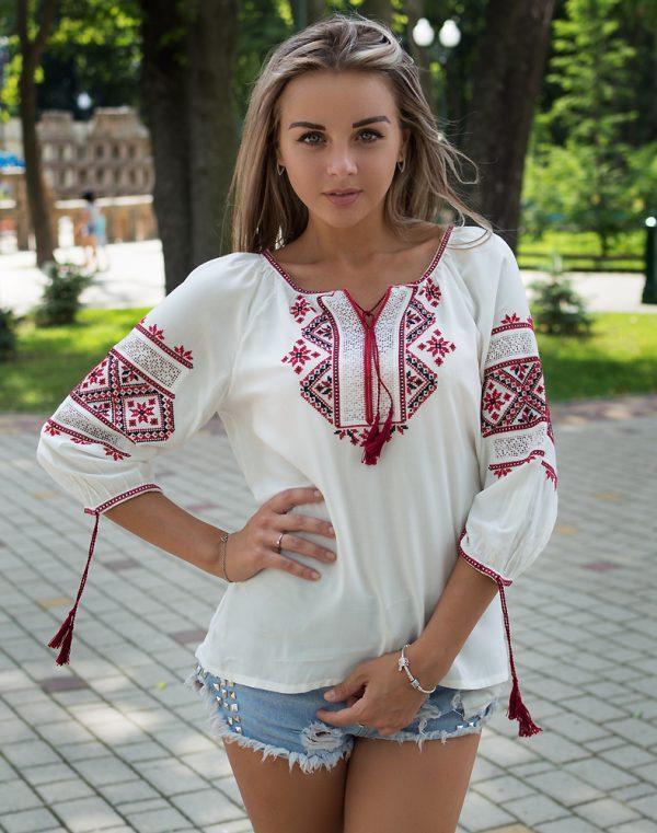 """Вышиванка женская Традиция"""" красная вышивка - фото 2"""