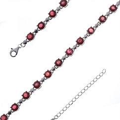 Браслет из серебра с натуральным рубином