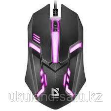 Мышь проводная Defender Сyber MB-560L, 7цветов,3кнопки,1200dpi, черный