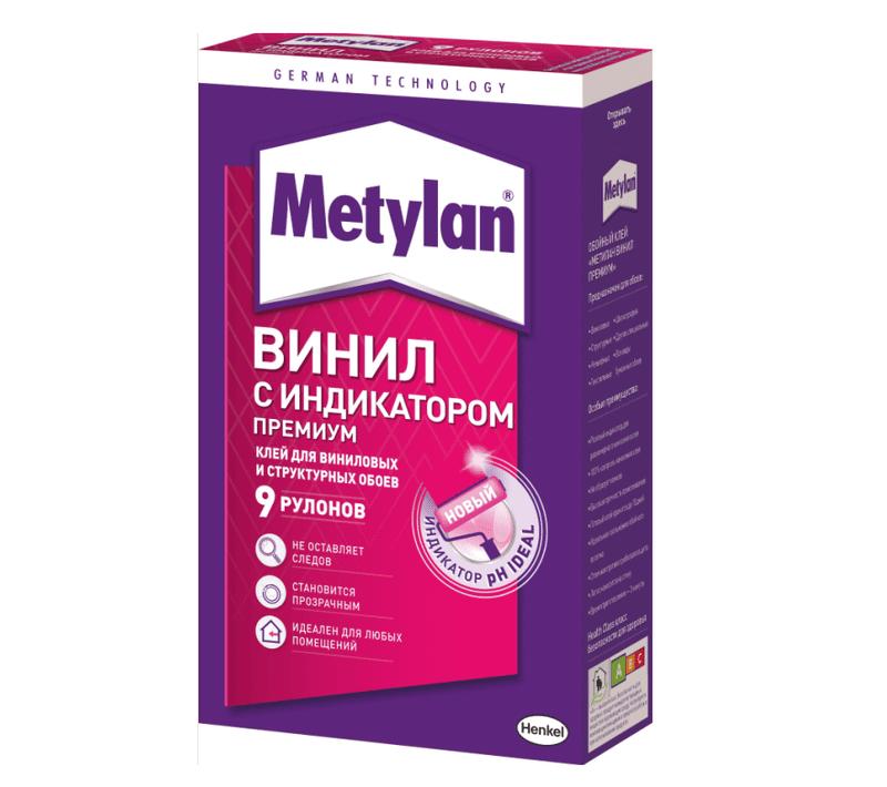 METYLAN Винил ПРЕМИУМ Обойный клей с розовым индикатором для виниловых обоев, 300 г