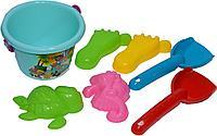 898-30 Beach toys песочное ведро,2лопатки,4формы в сетке,15*11см, фото 1