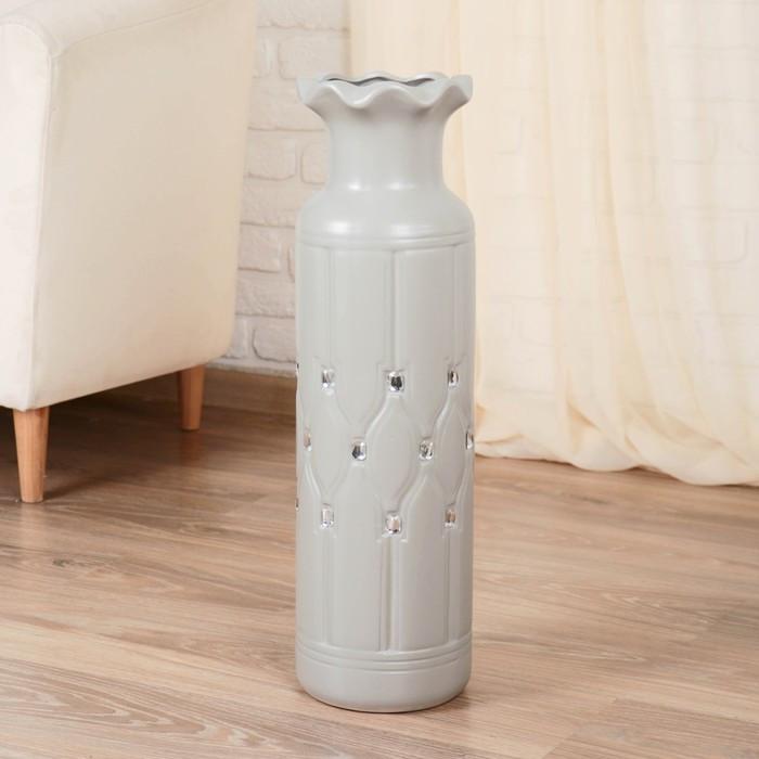 "Ваза напольная керамика ""Вилена"" 17*60 см, серый"