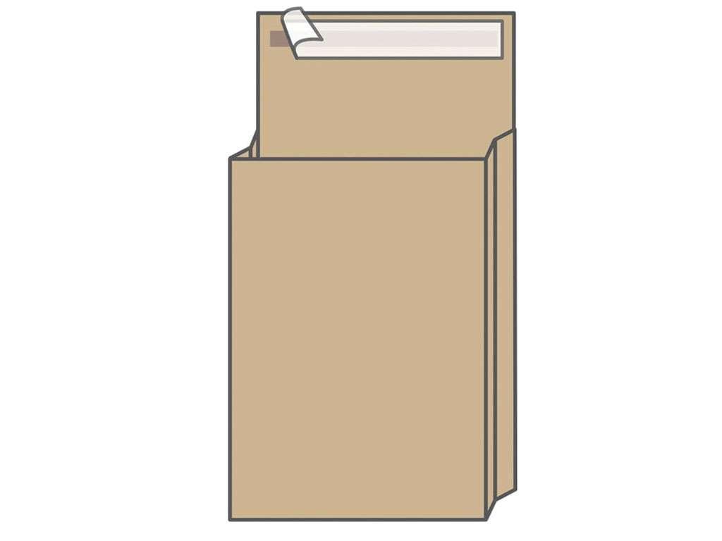 Конверт В4 KurtStrip (250х353х40 мм) пакет, с расширением, коричневый