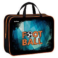 """Папка-сумка с ручками 350*265*80 Berlingo """"Football"""", А4, 1 отделение, текстиль, на молнии"""