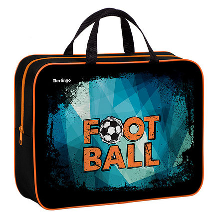 "Папка-сумка с ручками 350*265*80 Berlingo ""Football"", А4, 1 отделение, текстиль, на молнии, фото 2"