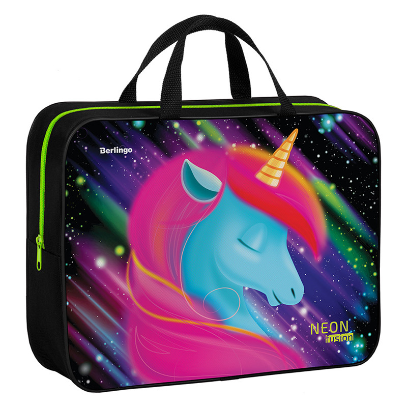 "Папка-сумка с ручками 350*265*80 Berlingo ""Neon Unicorn"", А4, 1 отделение, текстиль, на молнии"