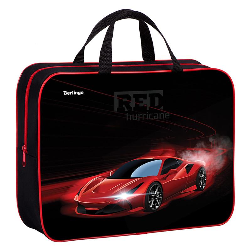 "Папка-сумка с ручками 350*265*80 Berlingo ""Red hurricane"", А4, 1 отделение, текстиль, на молнии"