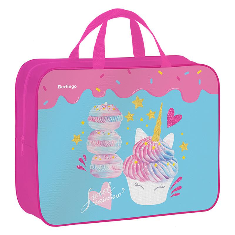 """Папка-сумка с ручками 350*265*80 Berlingo """"Unicorn party"""", А4, 1 отделение, текстиль, на молнии"""