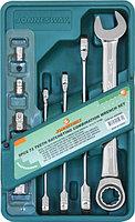 Набор ключей гаечных комбинированных трещоточных с аксессуарами на держателе, 10-19 мм, 8 предметов W45508S