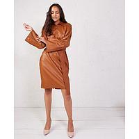 Платье женское MINAKU: Leather look цвет кирпичный, р-р 48