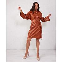 Платье женское MINAKU: Leather look цвет рыжий, р-р 42