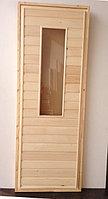 Дверь банная липа со стекло (коробка липа) 180*80