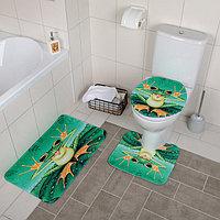 """Набор ковриков для ванны и туалета 3 шт 37х42, 40х45, 45х75 см """"Лягушонок"""""""