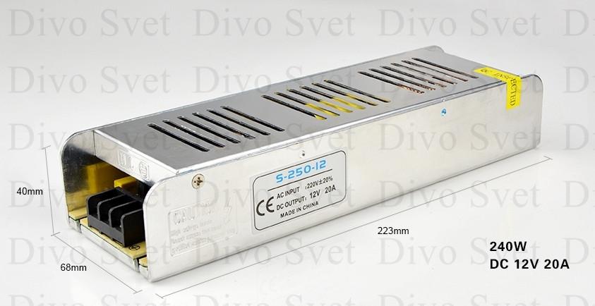 Блок питания 12V 20A 250W, открытый (узкой формы). Трансформатор 220В-12В, 250 Ватт. Power supply 12v