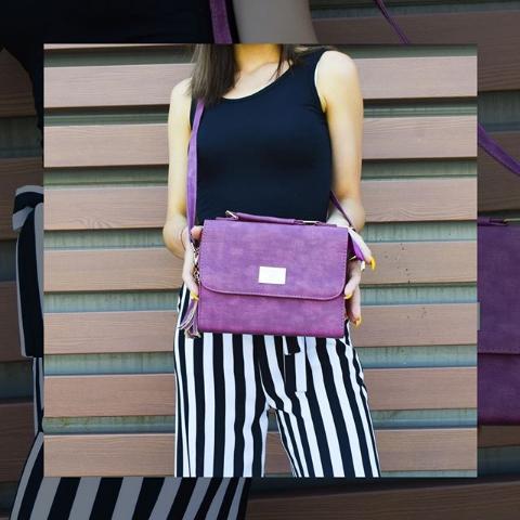 Женская сумка кросс-боди фиолетовая