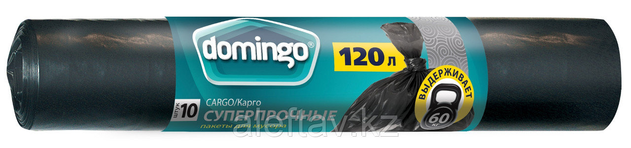 Пакеты для мусора 120 л черные, плотность 30 микрон в рулоне 10 штук
