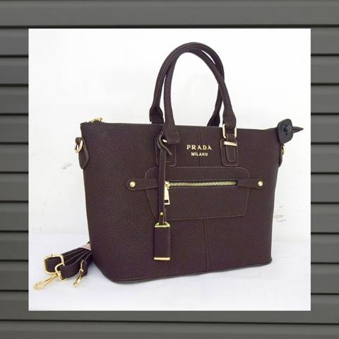 Женская сумка тоут коричневая Prada