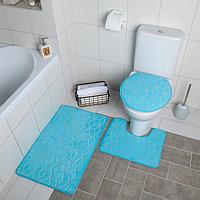 """Набор ковриков для ванны и туалета 3 шт 35х40, 40х50, 50х80 см """"Геометрик"""" цвет голубой"""