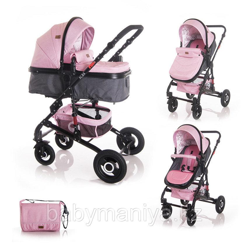 Коляска 2 в 1 Lorelli Alba + Сумка для мамы Розовый / Pink 2092