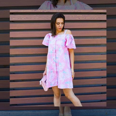 Платье розовое летнее с открытым плечом