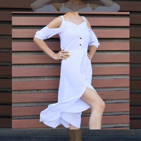 Платье белое летнее с открытыми плечами