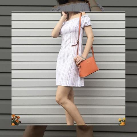 Платье летнее в полоску с открытыми плечами