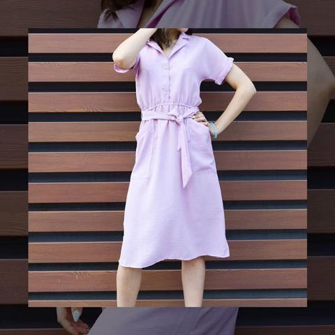 Платье летнее розовое с карманами