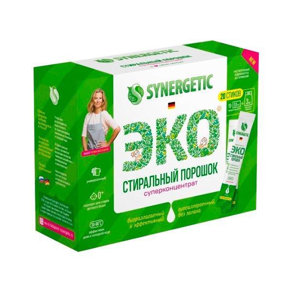 Стиральный порошок SYNERGETIC - 20 стиков, 20 шт