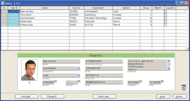 Учет посещаемости FingerTec TCMS V2