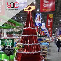 Изготовление рекламной новогодней стойки под торговое оборудование