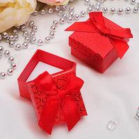Коробочка подарочная под кольцо 'Блестящие сердца', 55 (размер полезной части 4,5х4,5см), цвет красный, вставка белая (комплект из 6 шт.)
