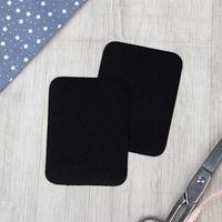 Заплатки для одежды, 10 x 7,5 см, термоклеевые, пара, цвет чёрный