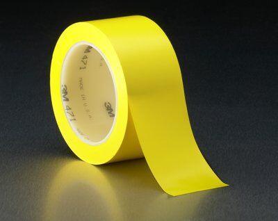 3M™ Лента на виниловой основе 471, жёлтая, 1238 мм х 32,9 м