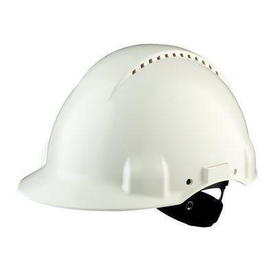 Защитная каска 3M™, Uvicator, трещоточный замок, с вентиляцией, пластиковая налобная лента, белый цвет, G3000NUV-VI