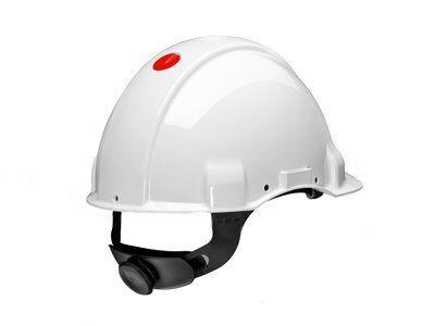 Защитная каска 3M™, Uvicator, штифтовый замок, без вентиляции, диэлектрическая (440 В), пластиковая налобная лента, белый цвет, G3001CUV-VI