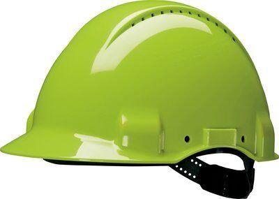 Защитная каска 3M™, Uvicator, штифтовый замок, с вентиляцией, пластиковая налобная лента, повышенной видимости, G3000CUV-GB