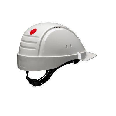 Защитная каска 3M™, Uvicator, замок с трещоткой, с вентиляцией, пластиковая налобная лента, крепление для фонаря, белый цвет, G3000NUV-10-VI