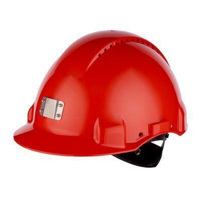 Защитная каска 3M™, Uvicator, замок с трещоткой, с вентиляцией, пластиковая налобная лента, крепление для фонаря, красный цвет, G3000NUV-10-GB