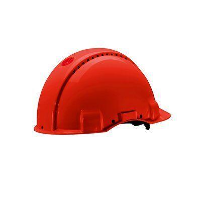 Защитная каска 3M™, Uvicator, штифтовый замок, без вентиляции, диэлектрическая (440 В), пластиковая налобная лента, красный цвет, G3001CUV-RD