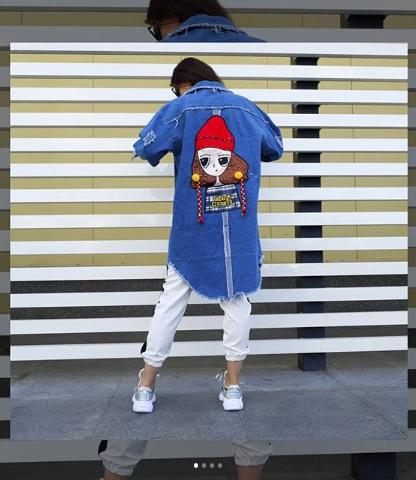 Женская джинсовая куртка удлиненная