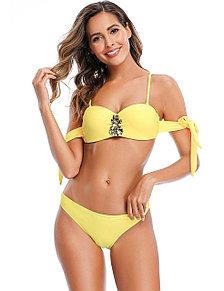 Купальник с завязками Rhinestone Yellow (S, M, L, XL)