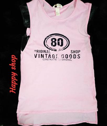Женская розовая футболка без рукавов