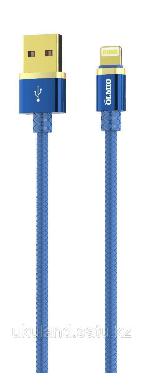 Кабель OLMIO DELUXE, USB 2.0 - Type-C, 1м, 2.1A, синий